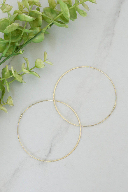 Gold - Large Hammered Hoop Earrings