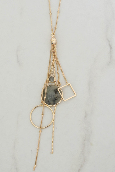 Grey - Stone and Pendant Charm Necklace Detail View