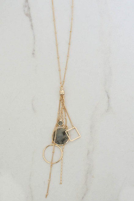 Grey - Stone and Pendant Charm Necklace
