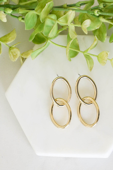Gold - Interlocked Oval Earrings