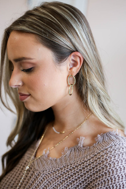 Gold - Interlocked Oval Earrings on Model