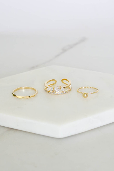 Gold - 3 Piece Rhinestone Ring Set
