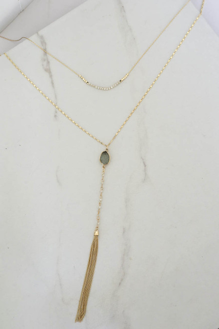 Grey - Stone Drop Necklace