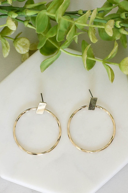 Gold - Bar and Hoop Earrings