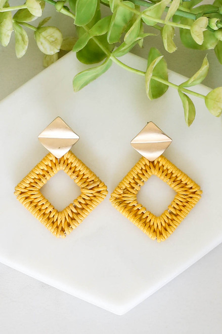 Mustard - Woven Statement Earrings Flat Lay