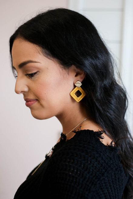 Mustard - Woven Statement Earrings on Model