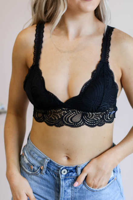 Black - Lace Bralette on Model