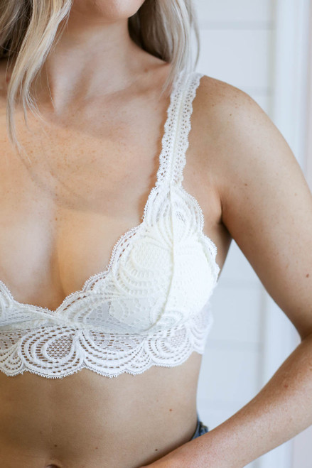 White - Lace Bralette on Model Detail View