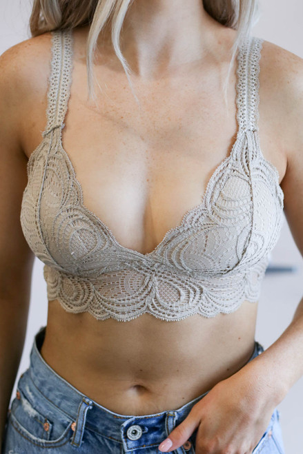 Taupe - Lace Bralette on Model