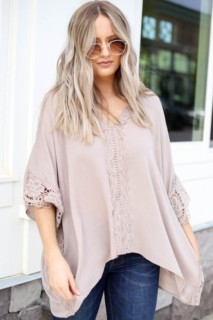 Model wearing Taupe Oversized Crochet Blouse