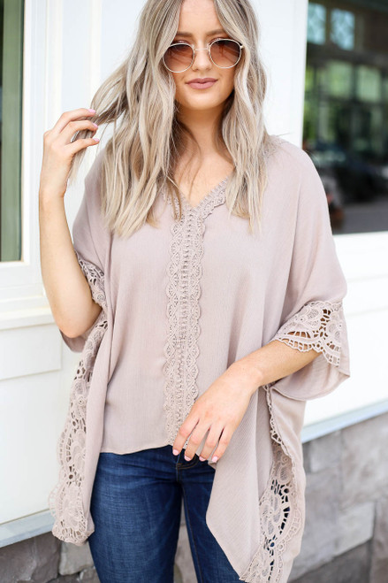 Taupe - Oversized Crochet Blouse