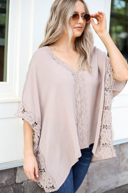 Taupe - Oversized Crochet Blouse Side View