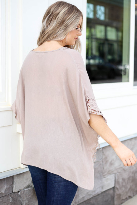 Model wearing Taupe Oversized Crochet Blouse Back View