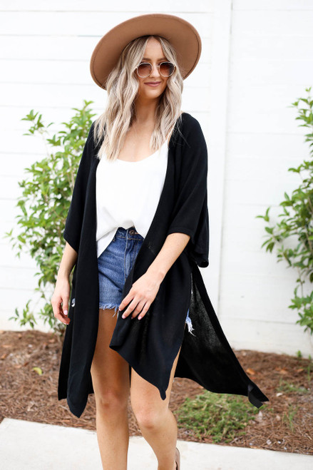 Black - Oversized Slit Cardigan