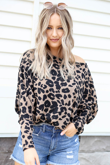 Taupe - Leopard Print Soft Knit Top