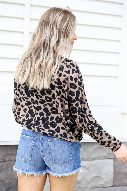 Model wearing Taupe Leopard Print Soft Knit Top Back View