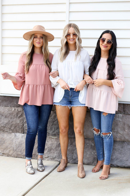Blush - White and Mauve Tiered Ruffle Sleeve Tops