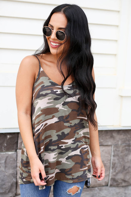 Camo - Cross Back Tank Top