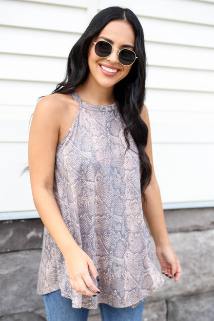 Taupe - Snakeskin High Neck Tank Top