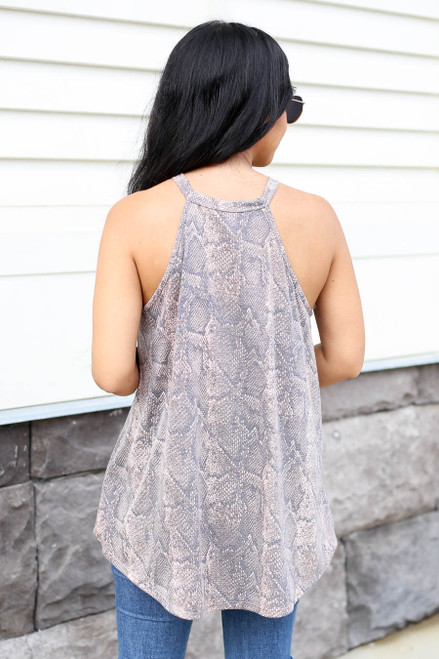 Model wearing Taupe Snakeskin High Neck Tank Top Back View