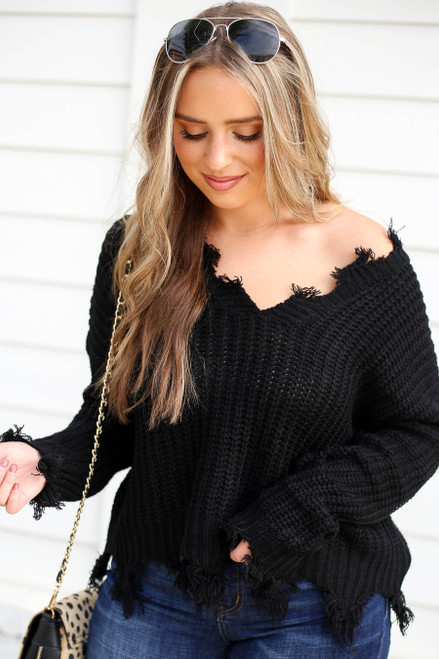 Black - Distressed Hem Sweater