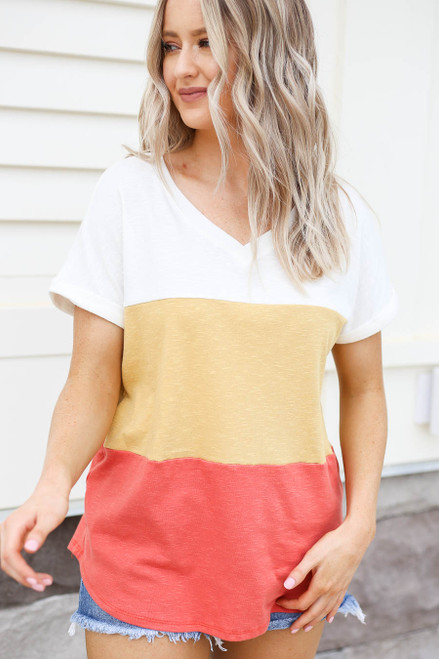 Model wearing Rust Color Block V-Neck Tee