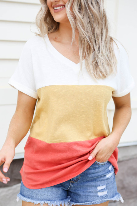 Rust - Color Block V-Neck Tee Detail View