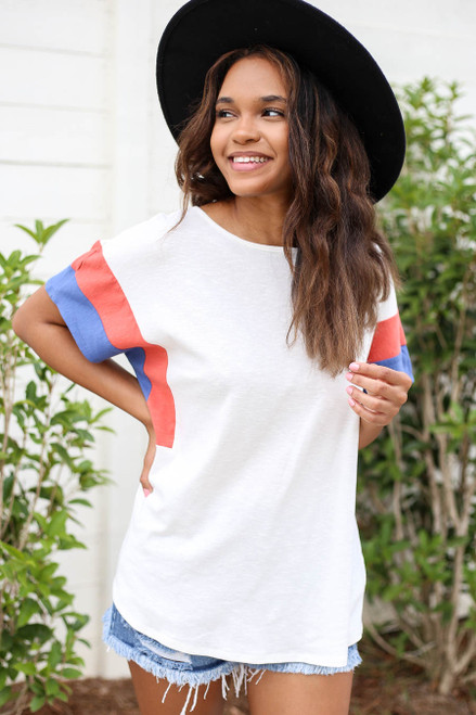 Model wearing White, Blue and Rust Color Block Sleeve Tee