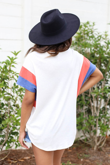 Model wearing White, Blue and Rust Color Block Sleeve Tee Back View