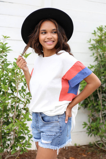 Model wearing White, Blue and Rust Color Block Sleeve Tee Front View