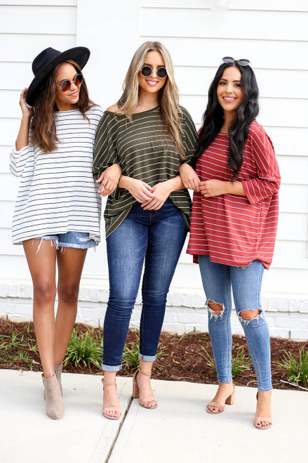 White - Olive and Rust Oversized Striped Tops