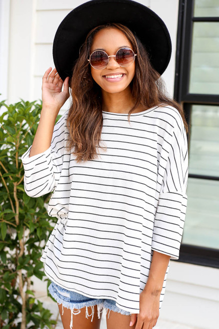 White - Oversized Striped Top