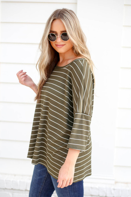 Olive - Oversized Striped Top Side View