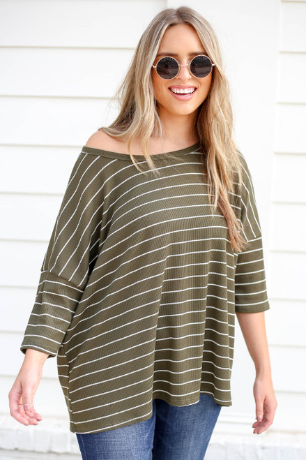 Model wearing Olive Oversized Striped Top