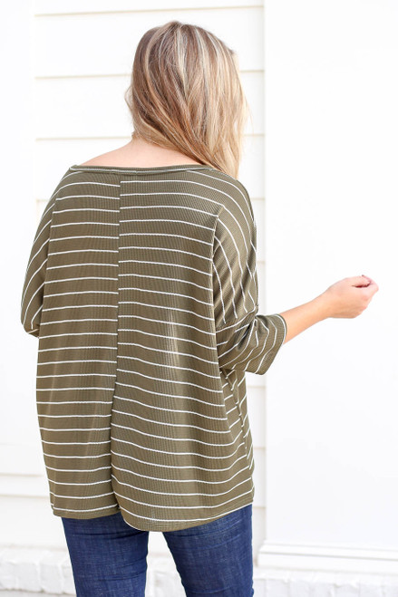 Model wearing Olive Oversized Striped Top Back View