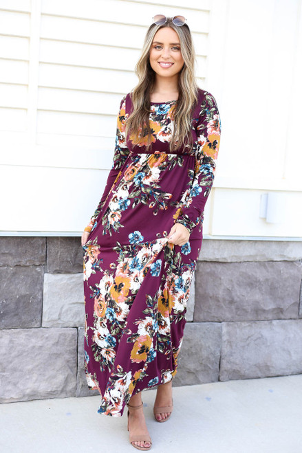 Burgundy - Long Sleeve Floral Maxi Dress