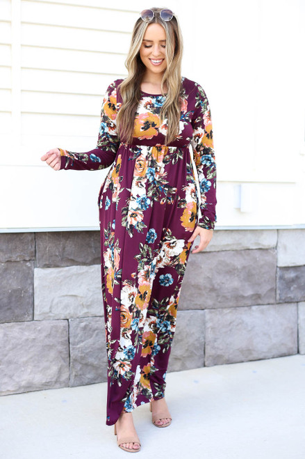Model wearing Burgundy Long Sleeve Floral Maxi Dress