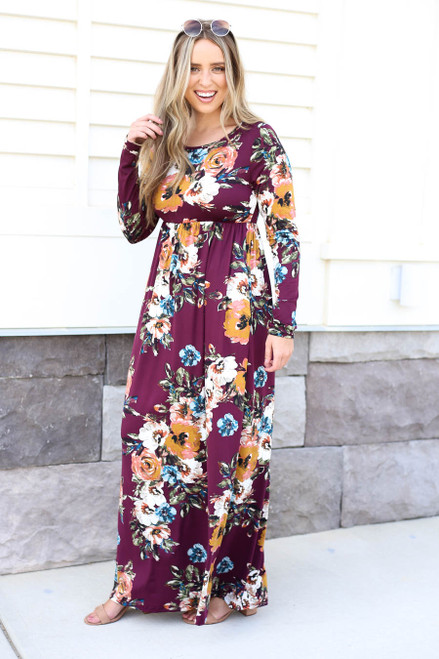 Burgundy - Long Sleeve Floral Maxi Dress Front View