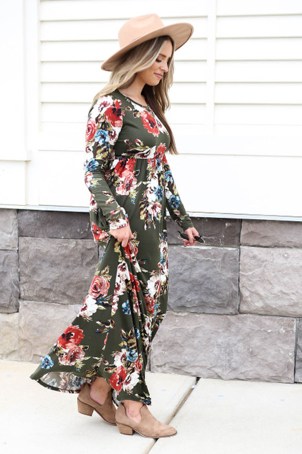 Model wearing Olive Long Sleeve Floral Maxi Dress Side View
