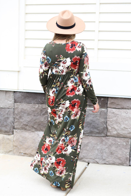 Olive - Long Sleeve Floral Maxi Dress Back View