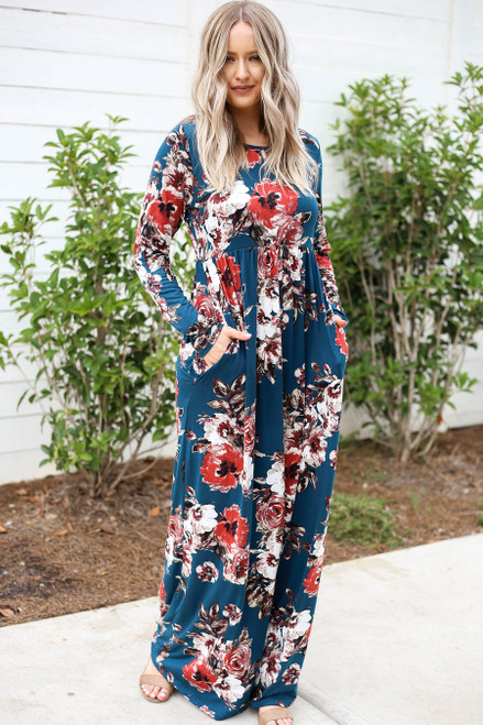 Teal - Long Sleeve Floral Maxi Dress