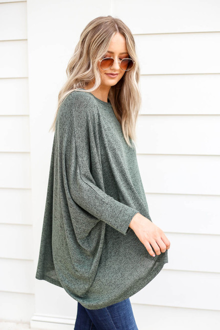 Olive - Oversized Knit Top Side View
