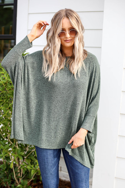 Model wearing Olive Oversized Knit Top Front View