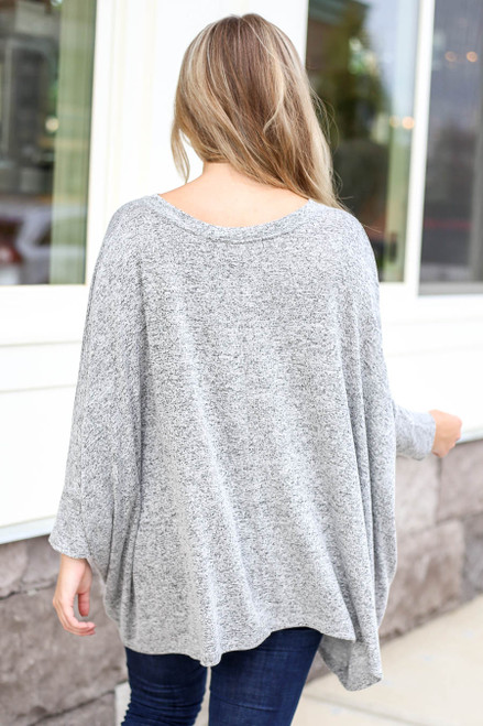 Model wearing Heather Grey Oversized Knit Top Back View