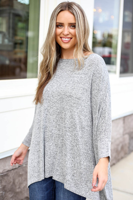 Heather Grey - Oversized Knit Top