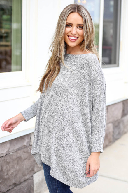 Heather Grey - Oversized Knit Top Side View