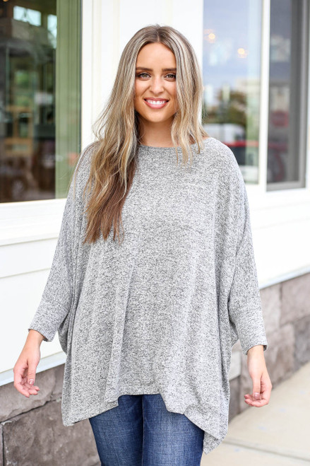 Model wearing Heather Grey Oversized Knit Top Front View