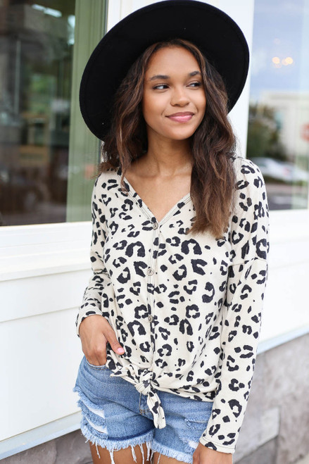 Ivory - Leopard Print Tie-Front Top