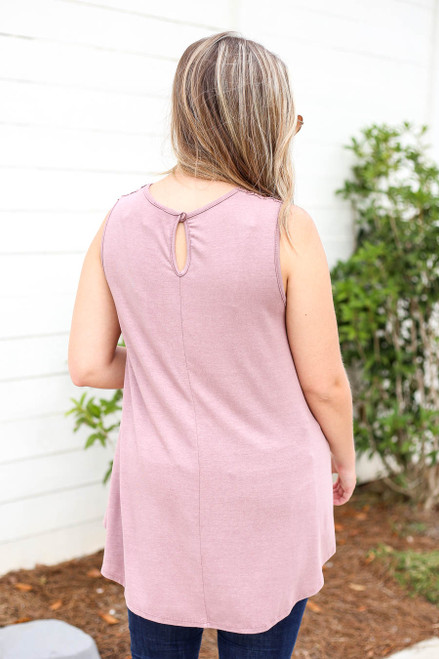 Model wearing Mauve Lace Front Tank Top Back View