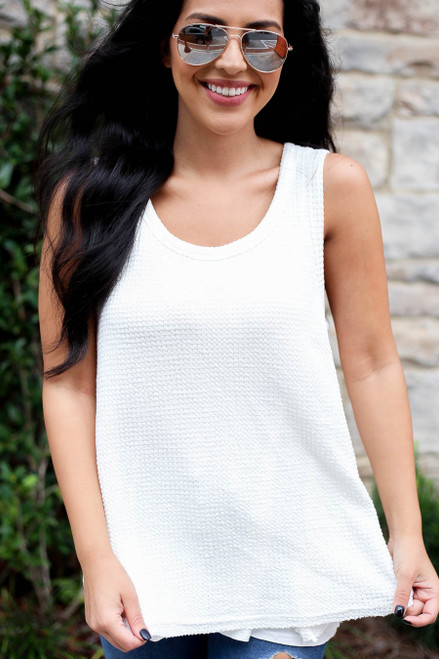 Model wearing White Waffle Knit Tank Top Detail View